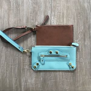 STEVE MADDEN Aqua Faux Leather Wristlet Clutch